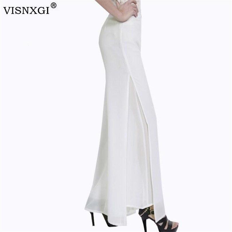 VISNXGI Women High Waist Wide Leg Long Pants Plus Size Office Ladies Wide Legged Skirt Trouser Double Layer Side Open Long Pant