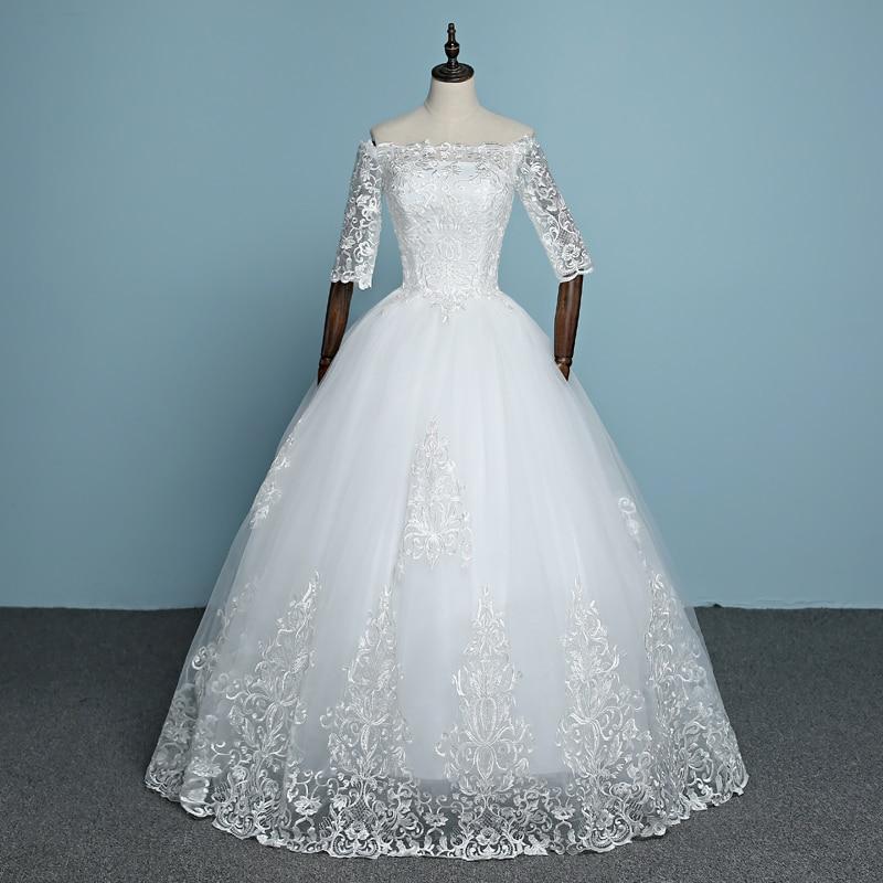 Mrs Win Wedding Dress Luxury Half Sleeve Boat Neck Ball Gown Classic Lace Princess Wedding Gowns Plus Size Vestido De Noiva