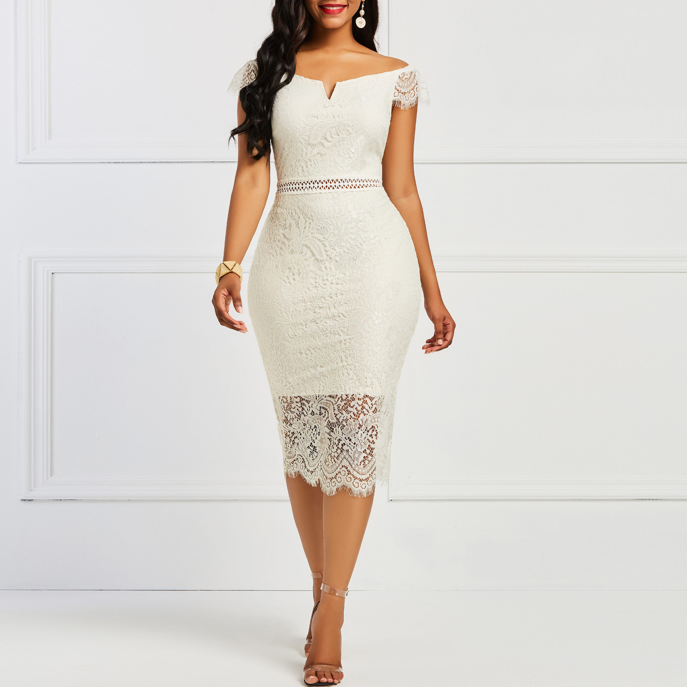 Sisjuly Bodycon Women <font><b>Dress</b></font> <font><b>Lace</b></font> Slash Neck <font><b>Hollow</b></font> <font><b>Backless</b></font> <font><b>Sexy</b></font> Elegant OL Party Chic Mid Calf Patchwork Sheath Retro <font><b>Dresses</b></font> image