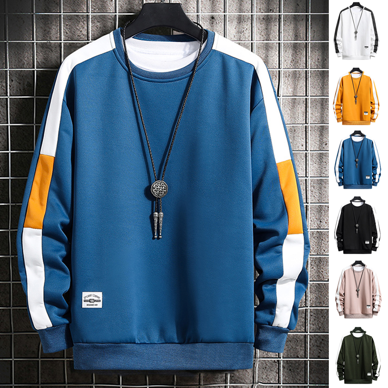 Patchwork Sweatshirt Hoodie Mens Long-Sleeve Harajuku Casual New-Fashion O-Neck for Young
