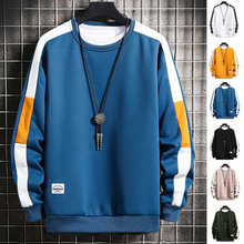 Long Sleeve Harajuku Sweatshirts Men 2020 New Fashion 6 Color Hoodie Mens Casual O-Neck Patchwork Sweatshirt for Young Men cheap MANLUODANNI CN(Origin) Full Kpop Solid Regular sweatshirt men Hoodies None STANDARD Cotton Polyester