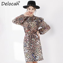 Delocah Runway Fashion Autumn Suit Womens Long Sleeve Bowknot Ruffled Tops And Vintage Leopard Printed Skirt Two Pieces Set