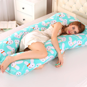 Sleeping Support Pillow For Pregnant Women Body PW12 100% Cotton Rabbit Print U Shape Maternity Pillows Pregnancy Side Sleepers(China)