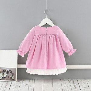 Image 2 - תינוק בנות שמלות נסיכת בנות בגדי ילדי בגדים הסטודנטיאלי סגנון ילדים בגדי כדור שמלה עם קשת 1 5Y