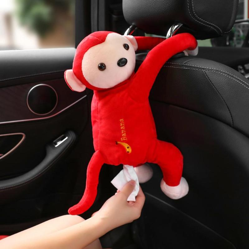 Auto Car Tissue Box Creative Cartoon Monkey Home Office Car Hanging Paper Napkin Tissue Box Cover Holder Portable Paper Box