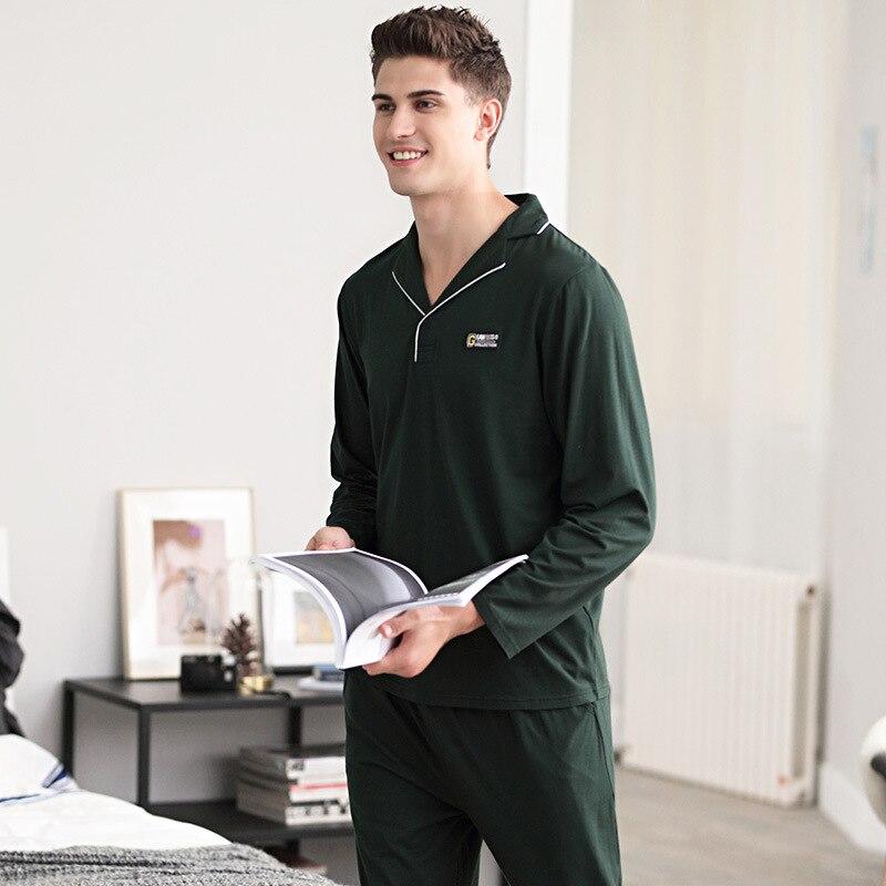 Мужские пижамы с длинным рукавом мужской пижамы комплект хлопка пижамы для мужчин осень свободного покроя пижамы домашняя одежда высокое качество мужской нижнее белье Комплект