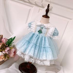 Летнее платье VTG, синее, испанское, Кукольное платье Ловец снов, Детские платья для девочек, детское платье на день свадьбы, 2020