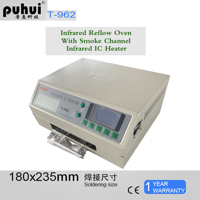 Puhui T962 800W Reflow ציוד T962 אינפרא אדום Reflow תנור תנור IC דוד BGA SMD SMT עיבוד חוזר תחנה