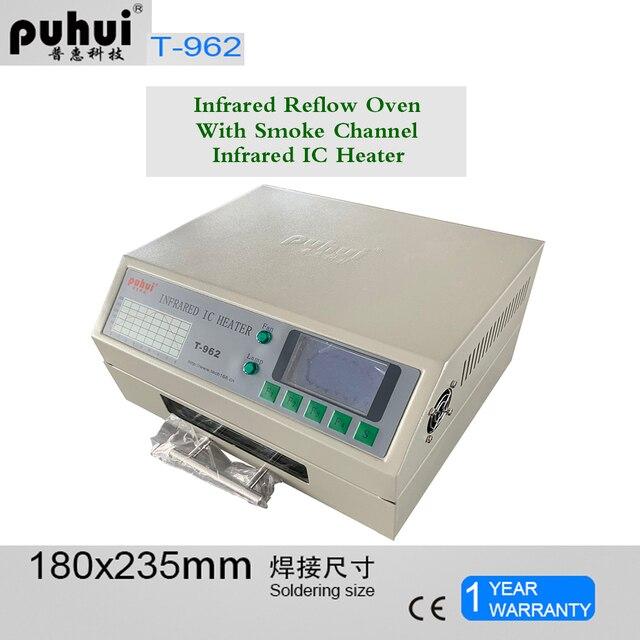 Puhui T962 800W 리플 로우 장비 T962 적외선 리플 로우 오븐 퍼니스 IC 히터 BGA SMD SMT 재 작업 스테이션