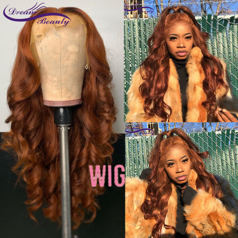 Orange Ginger Glueless 13x4 Lace Front Human Hair Wigs 180% Orange Brazilian Remy Lace Frontal Wigs With Baby Hair Dream Beauty