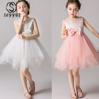 Skkyue Kids Party Dresses for Girls Beeding O-Neck Tank Ball Gown Bow Comunion Dress Pageant Dress for Wedding 2019 BX2806 new girls puffy dress with bow ball gown flower girls dresses for wedding baby girls birthday party dress pageant gown