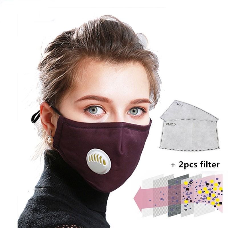 Anti Pollution PM2.5 Masks Unisex Breath Valve Mouth Mask Anti-Dust Anti Pollution Mask Cloth Activated Carbon Filter Respirator