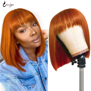 UWIGS Short Bob Wigs With Bangs Ginger Wigs Straight Machine Made Wig Human Hair Wigs With Bangs For Black Women Brazilian Remy