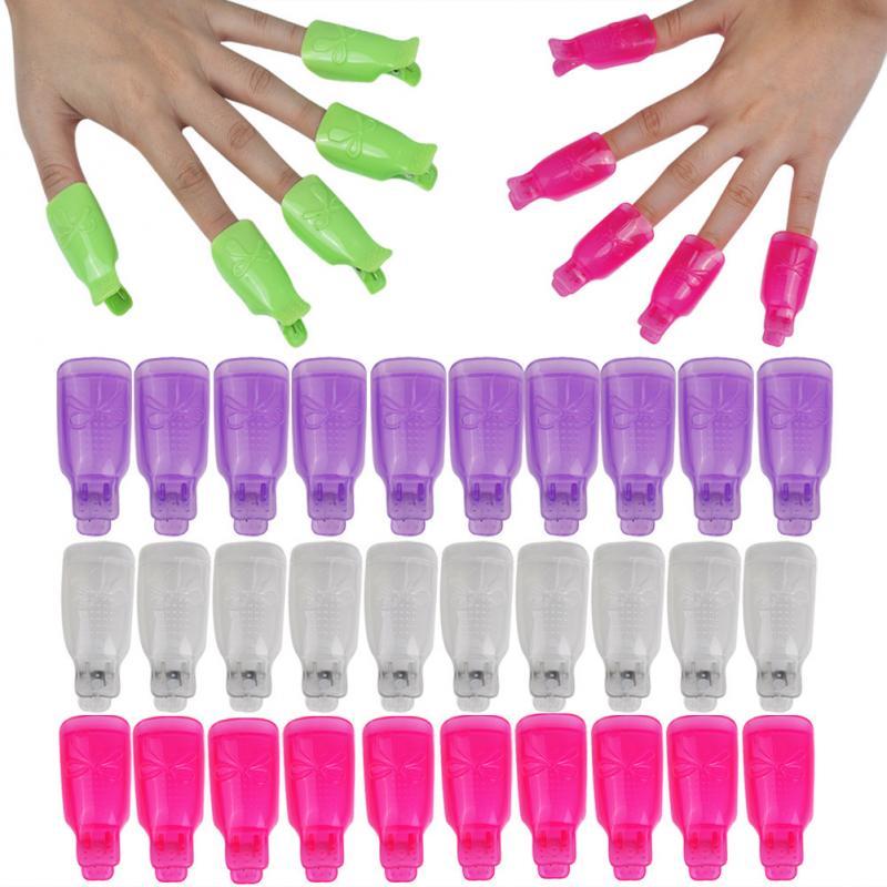 10 pçs plástico mão unha arte embeber fora tampa clipe manicure uv gel polonês removedor unha arte envoltório ferramentas