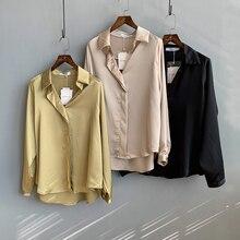 Женская шелковая рубашка, женские блузки, свободный верх, рубашка с длинным рукавом, осень, женские топы, блузы