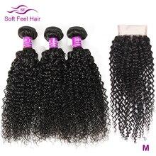 Feixes de cabelo encaracolado kinky com fechamento do cabelo brasileiro tecer pacotes com fechamento remy cabelo humano 3 pacotes com fechamento