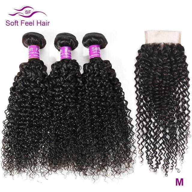 רך מרגיש שיער קינקי קרלי חבילות עם סגירה ברזילאי שיער Weave חבילות עם סגירת רמי שיער טבעי 3 חבילות עם סגירה