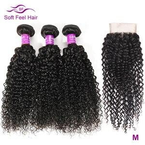Image 1 - Yumuşak hissediyorum saç Kinky kıvırcık demetleri ile kapatma ile brezilyalı saç örgü demetleri ile kapatma Remy İnsan saç 3 demetleri ile kapatma