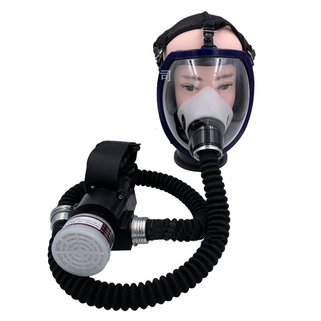 1 Set Workplace Safety Supplies Protective Mask Electric Constant Flow Supplied Air Fed System Full Face Gas Mask Respirator