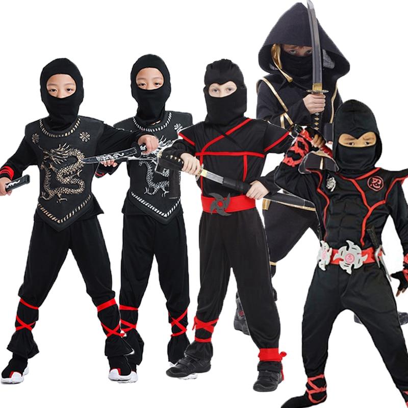 Kids Ninja Costumes Halloween Party Boys Girls Warrior Stealth Children Cosplay Ninjago Assassin Costume Children's Day Gifts