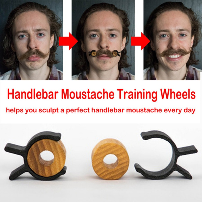 Wood Silica Gel Handlebar Moustache Training Wheels For Men Salon Mustache Styling Template For Beard Shaping Trimming Tool
