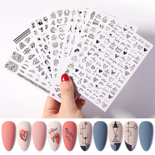 1 Sheet Alphabet Love Shaped  Pattern 3D Nail Stickers Slider Valentines Day Decals Foil For DIY Love Nail Art Decorarion