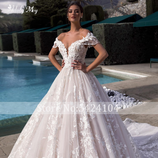 Adoly Mey Gorgeous Appliques Flowers A-Line Wedding Dresses 2021 Luxury Beaded Boat Neck Lace Up Princess Bridal Gown Plus Size 3