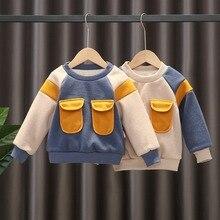 Pullover Sweatshirt Baby Winter Kid Fashion Outwear Tops Color-Block Velvet Long-Sleeve