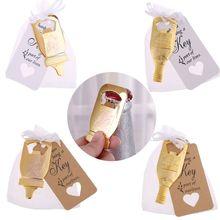 10 Uds. Abridor de botellas + 100 Uds. Bolsas de tarjetas Vintage recuerdo de fiesta de boda invitados
