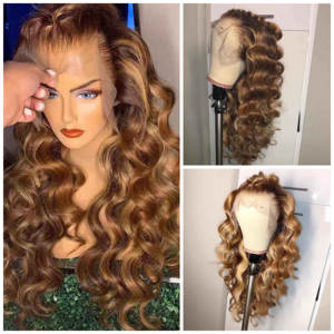 360-Lace-Frontal Wig Human-Hair with Loose-Wave Pre-Plucked Colored Ombre