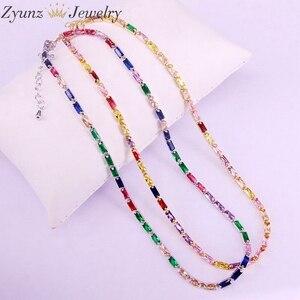 Image 4 - 5 pçs, cz corrente colar feminino gargantilha colorido cz cristal zircônia ouro/prata cor colar para mulher