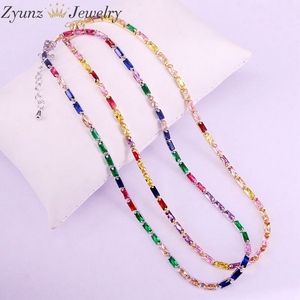 Image 4 - 5PCS, CZ chain necklace women choker Colorful cz crystal zirconia Gold /Silver Color necklace for women