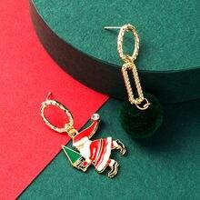 2020 новые модные Асимметричные зеленые серьги для волос с Санта
