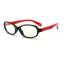 Синий блокатор компьютерные очки для детей УФ-фильтры уменьшить глазное напряжение Черная Пластиковая Рамка Прямоугольник Fit
