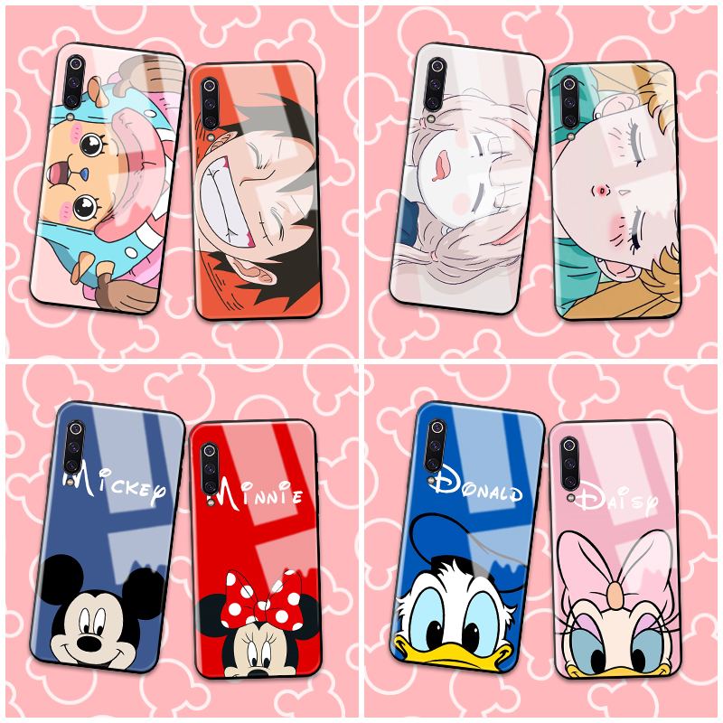 Case for Xiaomi Redmi Note 8 Pro Daisy Duck Cartoon Painted Tempered Glass Back Cover Phone Bags Cases For Redmi Note 8 Note7