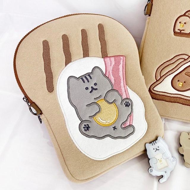 Tablet case laptop storage bag For Mac Ipad pro 9.7 11 13inch Cartoon toast cat sleeve liner bag student girls Case 1
