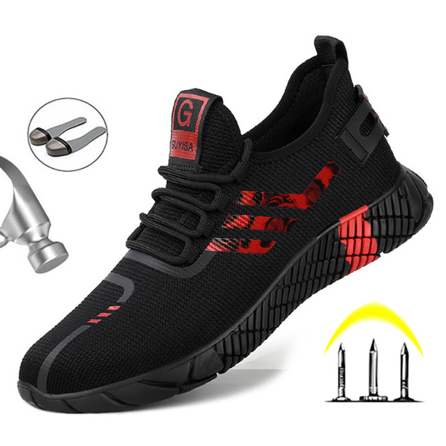 Work Safety Boots Mens Sneakers Breathable Safety Shoes Work Boots Men Puncture-Proof Indestructible Shoes With Steel Toe Shoes 4