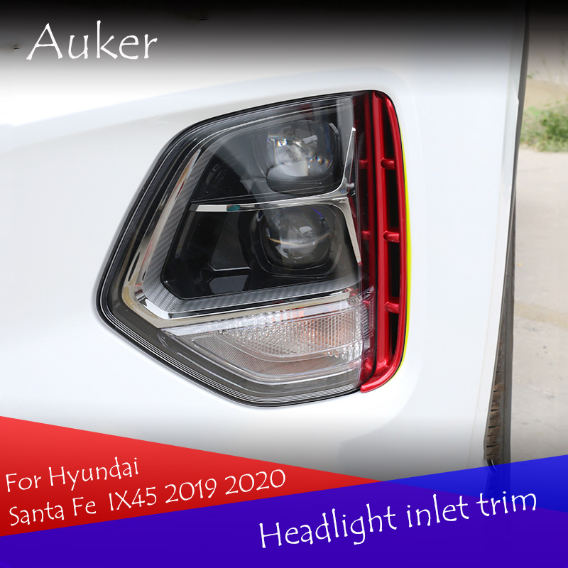 Car headlights air intake trim chrome style exterior accessories for Hyundai Santa Fe Santafe IX45 4TH 2019 2020-in Chromium Styling from Automobiles & Motorcycles