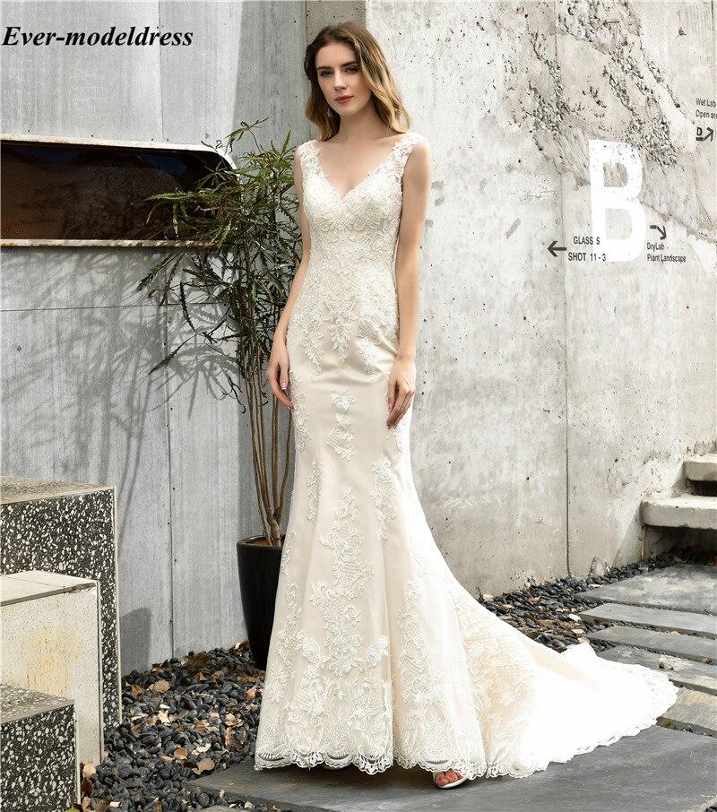 Vestido De Novia, кружевные свадебные платья русалки, v-образный вырез, без рукавов, пуговицы сзади, Boho, кантри, свадебные платья для свадьбы, со