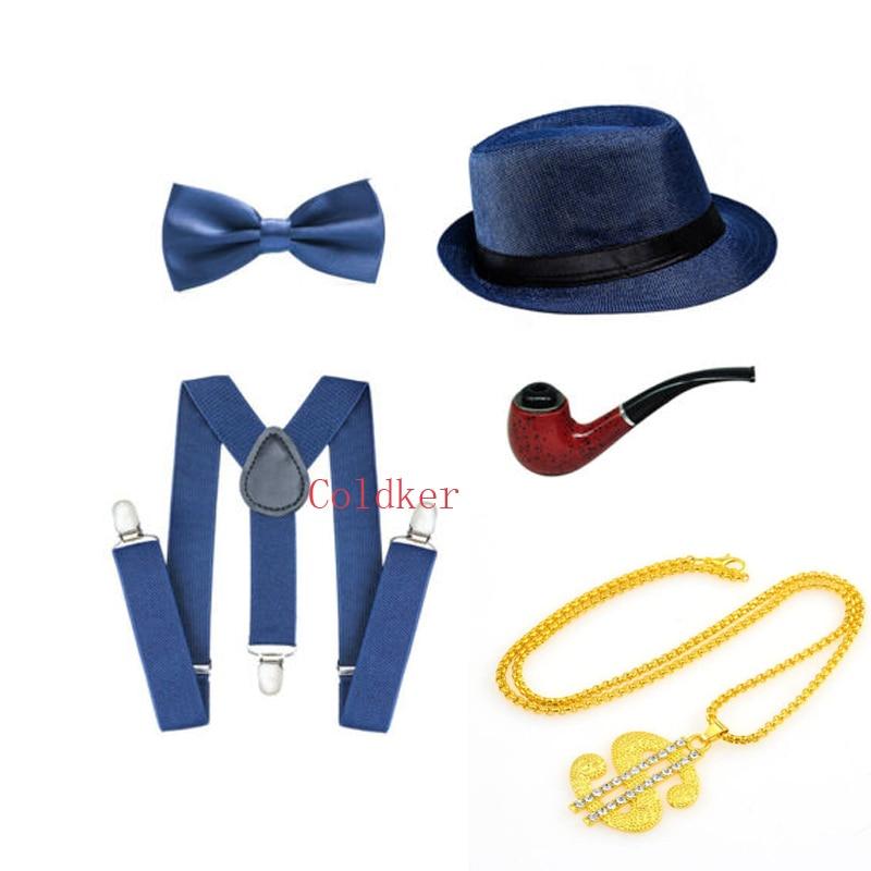 5Pcs Party Black Bow Tie 1920s Accessories Holidays Men Costume Set Gangster Hat
