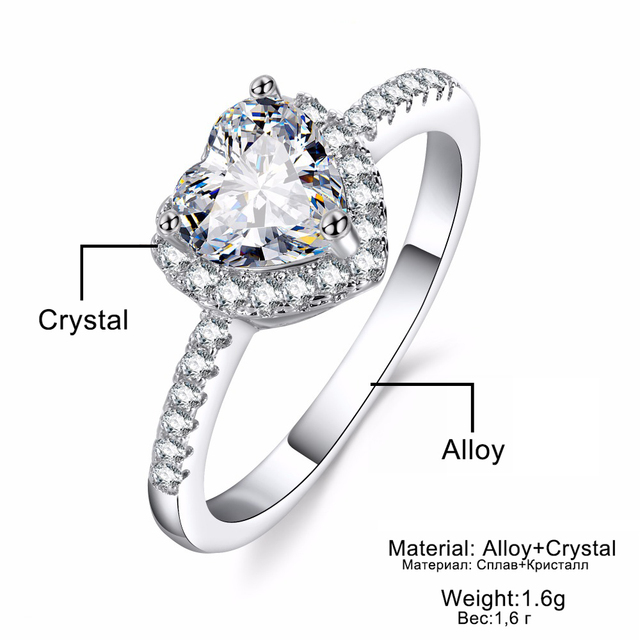 VKME Fashion Crystal Ring Openwork Crown Silver color Ring  5
