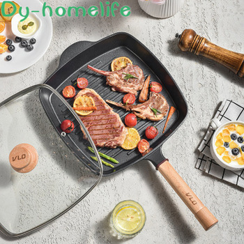 European Style Removable Handle Non-stick Frying Pan Kitchen Home Breakfast Frying Pan Gridded Steak Egg Frying Pan Pan