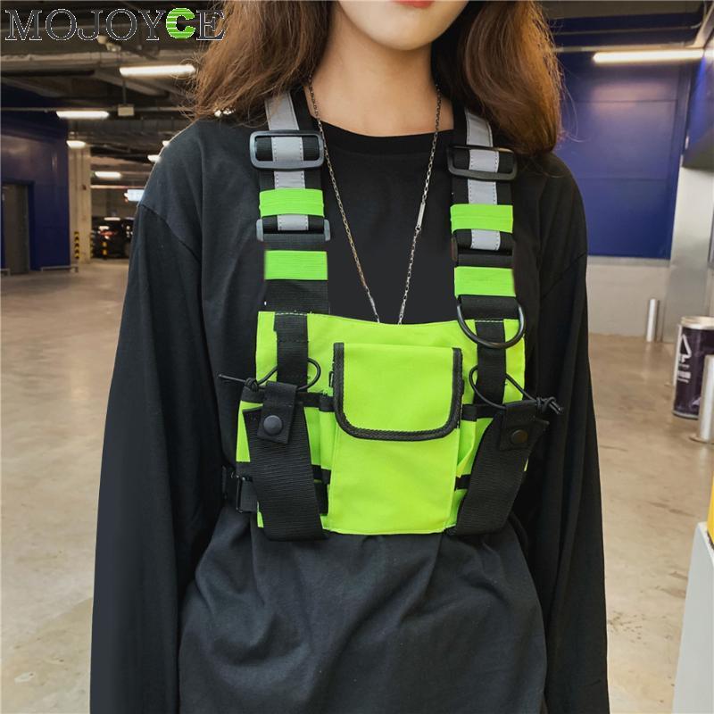 Oxford Fashion Crossbody Chest Vest Bag Men Women Night Reflective Hip Hop Style Streetwear Waistcoat Packs