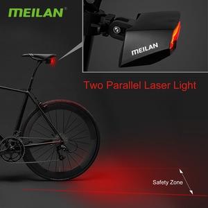 Image 5 - חכם בלם אופניים אורות Meilan X5 USB נטענת אופני לייזר אור LED להפוך אות טאיליט אלחוטי מרחוק שליטה אחורי La