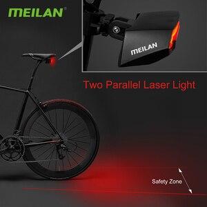 Image 5 - Meilan lampe de bicyclette de frein intelligent, Rechargeable par USB, Laser, clignotant, feu arrière, télécommande sans fil