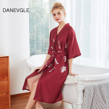 Womens silk robe two-color optional high-quality face home service ladies family morning