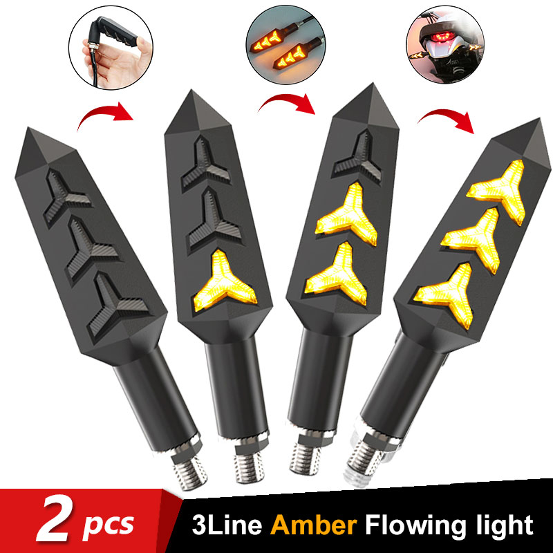 2pcs Flowing LED Motorcycle Turn Signal Indicators Sequential Blinkers Flashers Flexible Bendable Motorbike Amber Light Lamp