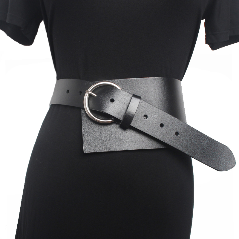 2020 Luxury Genuine Leather Metal Pin Buckle Long Belts For Women  Clothes Accessories Wide Dress Belt Accessory