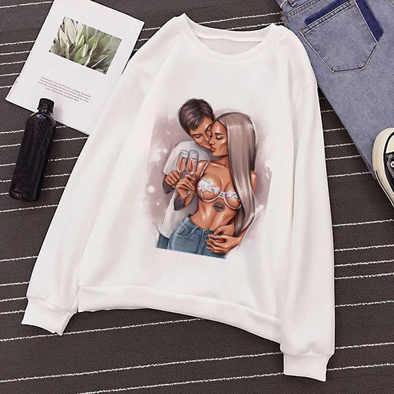 Kpop 여성 흰색 까마귀 하라주쿠 보그 섹시 레이디 인쇄 패션 캐주얼 긴팔 oneck 풀오버 스웨터 여성 streetwear