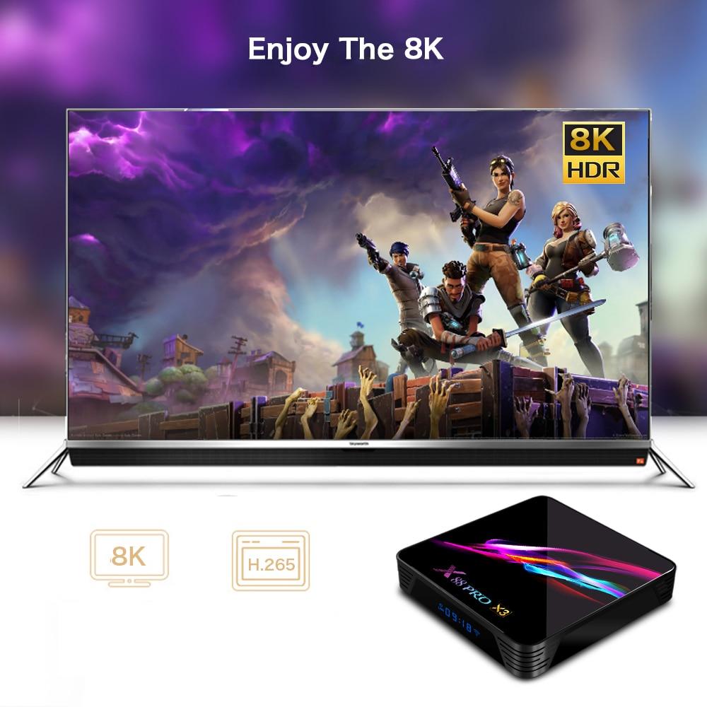 Смарт-8К коробка TV Андроида 9.0 X88 про Х3 S905X3 коробка Amlogic четырехъядерных процессоров 2.4 Г/5 г беспроводной ВТ4.1 4к медиа-плеер 4 ГБ оперативной памяти 128 ГБ установленной верхней коробки